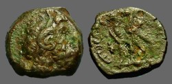 Ancient Coins - Ptolemy VI AE17 joint reign issue.  2 eagles left on thunderbolt.
