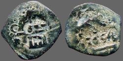 World Coins - Philip III, IV, AE23  4 Maravedis, Castle / Lion left. countermarks