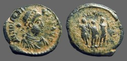 Ancient Coins - Honorius AE3 Theodosius II, Aracadius, Honorius stg.   Antioch, Turkey.