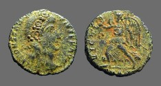 Ancient Coins - Constans AE3 Victory advancing left holding wreath and palm branch.  Scarce