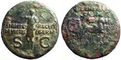 Ancient Coins - Germanicus AE29 Dupondius. Quadriga / Germanicus stg w. scepter