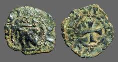 World Coins - Navarra billon dinero. Crowned N / Cross w. pelletes in quartiles