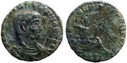 Ancient Coins - Hannibalianus AE15 half follis.  Euphrates reclining. Constantinople