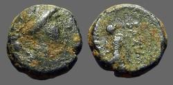 Ancient Coins - Seleukos III AE15 Artemis / Apollo on omphalos