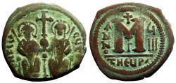 Ancient Coins - Justin II & Sophia AE30 Follis.  Antioch.  year 8