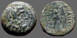 Ancient Coins - Demetrius II 2nd reign AE17 Zeus / Nike adv. w. wreath & palm
