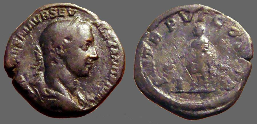 Ancient Coins - Severus Alexander AE28 Sestertius Emperor sacraficing over altar