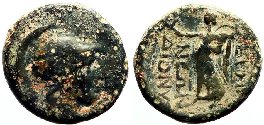 Ancient Coins - Phrygia, Eumeneia AE19 helmeted Athena / Nike