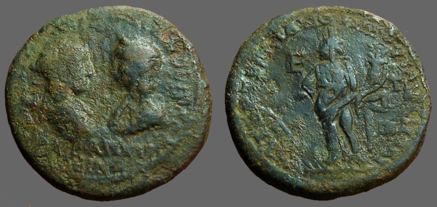 Ancient Coins - Severus Alexander & Julia Mamaea AE26 Tyche  Marcianopolis, M.I.