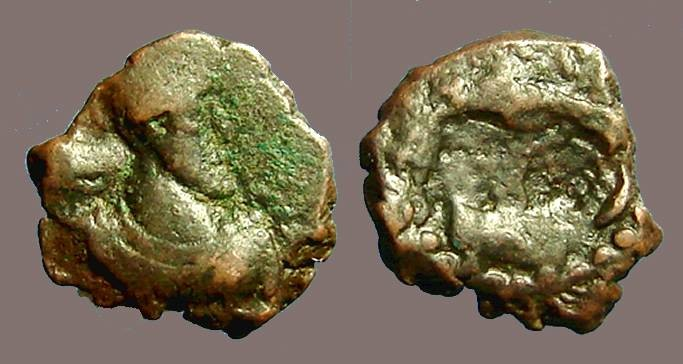 Ancient Coins - Kushan Shaws, Kabad AE16 Bust rt / Fire Altar