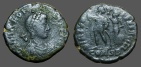 Ancient Coins - Arcadius AE3  Victory holds wreath over Arcadius.  Constantinople. officiana B