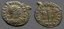 Ancient Coins - Constans AE3 as Caesar.  Soldiers either side of standard.  casting sprue attached