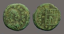 Ancient Coins - Arcadius AE4 Nummus, Campgate, Thessalonica.