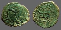 World Coins - Fernando II of Navarra billon dinero. Crowned F / Cross w. pelletes in quartiles