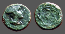 Ancient Coins - Thrace, Lysimachia. AE10. Hermes wearing petasus. / LY - SI in a wreath w. grain ears