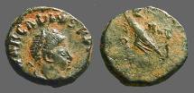 Ancient Coins - Arcadius AE4 SALVS.. Victory adv. l. w. captive.  Chi Rho.  Antioch, Turkey