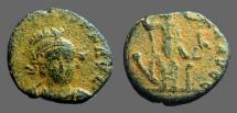 Ancient Coins - Honorius AE3  Constantinopolis seated w. globe & spear.  Antioch, Turkey