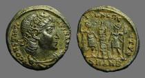 Ancient Coins - Constantius II AE3/4 GLORIA EXERCITVS, 2 Soldiers, 1 Standard.