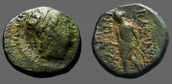 Ancient Coins - Antiochos III AE15 Hd of Antiochios as Apollo / Apollo stg, holds arrow, leans on bow