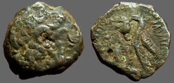 Ancient Coins - Ptolemy VI AE20 Joint reign issue.  Zeus Ammon / 2 Eagles left on thunderbolt.