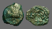 Ancient Coins - Herod Anchelaus AE prutah.  Wreath, EO at center / Prow if galley left.