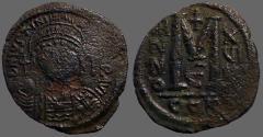 Ancient Coins - Justinian I AE31 facing bust Follis.  Constantinople. year 19