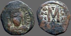 Ancient Coins - Maurice Tiberius AE29 Follis.  year 7. Constantinople