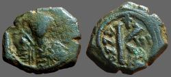 Ancient Coins - Maurice Tiberius AE22 1/2 Follis.  year 6