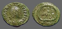 Ancient Coins - Valentinian II AE4 Vows in wreath.  VOT/X/MVLT/XX