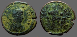 Ancient Coins - Valentinian II AE2 Christogram.  Emperor w. standard, captive