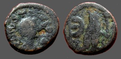 Ancient Coins - Justin I AE13 Pentanummium.  Tyche of Antioch in temple, River God below.