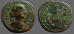 Ancient Coins - Faustina II, AE26 As. Juno standing left holding patera and scepter, peacock