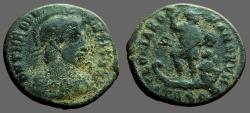 Ancient Coins - Theodosius I AE23 Centionalis.  Theodosius adv., in galley, w. Victory paddling.
