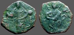 Ancient Coins - Alexius I Comnenus AE16 tetarteron Christ stg / Alexius stg