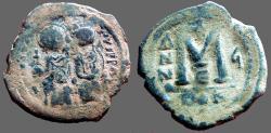 Ancient Coins - Justin II & Sophia AE30 Follis.  Constantinople.  year 5