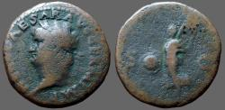 Ancient Coins - Nero AE as Victory flying w. shield SPQR
