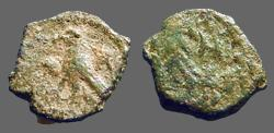 Ancient Coins - Aretas IV AE11 Eagle, wings closed, stands rt./ Nabataean letter in wreath.