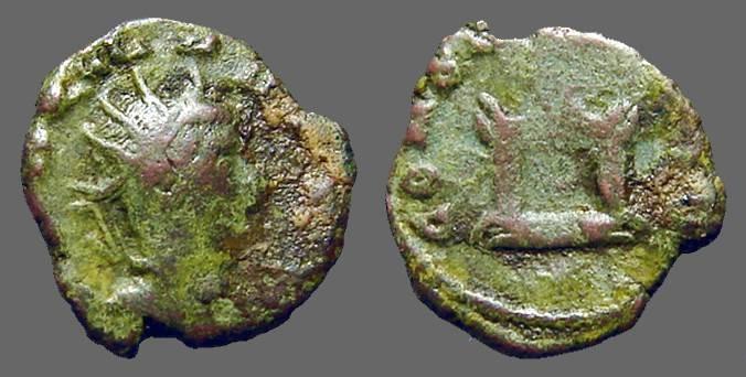 Ancient Coins - Claudius II Gothicus AE Antoninianus.  decorated lit altar