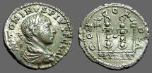 Elagabalus AR denarius  Military Standards.  CONCORDIA.