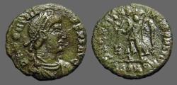 Ancient Coins - Gratian AE3 Victory adv w. wreath.