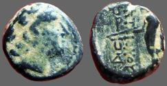 Ancient Coins - Antiochos III AE11 Apollo / Apollo holding bow & arrow