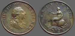 World Coins - Great Britain, King George III AE30 1/2 Penny. 1799