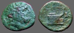 Ancient Coins - Macedon, Amphipolis AE18 Semis  Zeus / Galley Prow