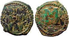 Ancient Coins - Justin II & Sophia AE32 Follis.  Antioch.  year 6
