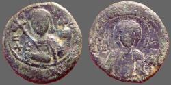 Ancient Coins - Alexius I AE18 Tetarteron.  Christ / Alexius
