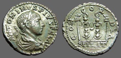 Ancient Coins - Elagabalus AR denarius  Military Standards.  CONCORDIA.