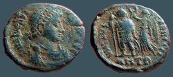 Ancient Coins - Arcadius AE3 (17mm) Victory holds wreath over Arcadius