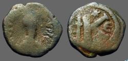 Ancient Coins - Justinian I AE26 1/2 Follis, Constantinople. SB#164