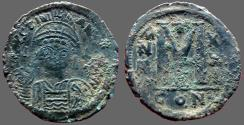 Ancient Coins - Justinian I AE33 facing bust Follis.  Constantinople. year 21