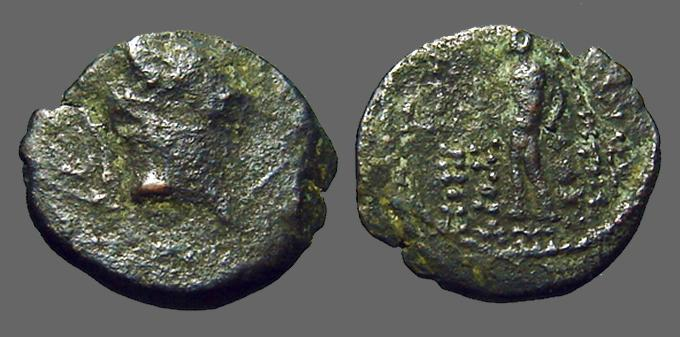 Ancient Coins - Demetrios III AE18 naked statue of Hermes on pedastel